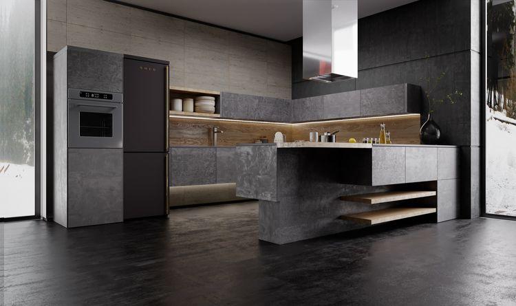 Кухня из каменного шпона ЛАТА LOFT